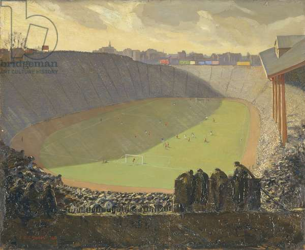 A Chelsea Cup Tie, Stamford Bridge, 1923 (oil on plywood)
