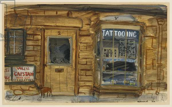 Tattooing Shop in a Yorkshire Town, c.1943 (w/c, bodycolour & ink on paper)