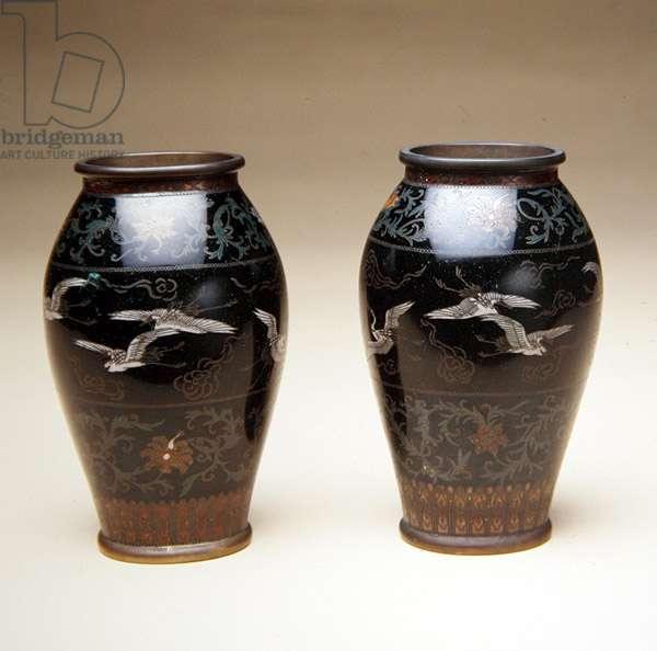 Vase, 1800-99 (copper with cloisonne enamel)