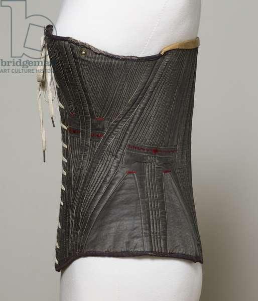 Corset (view C), 1840-50 (cotton, metal, leather & satin)