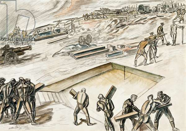 Battery Pulling In II, 1918 (pen & ink with pastel on paper)