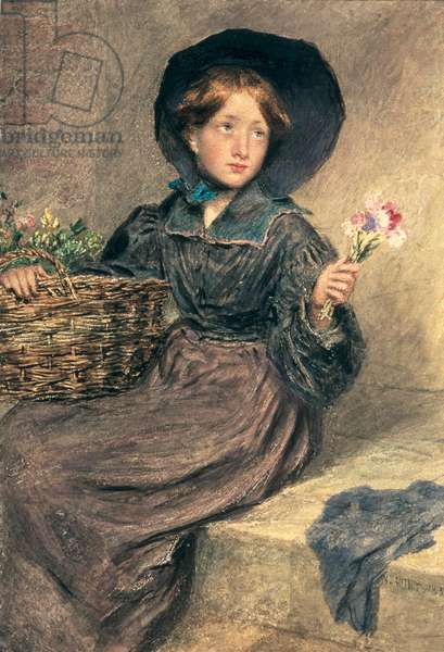 The Flower Girl, 1833 (w/c & bodycolour on paper)