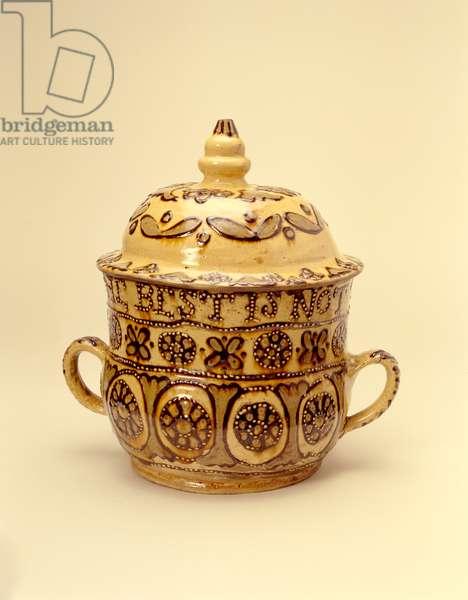 Posset pot, Staffordshire, 1690-1700 (lead-glazed earthenware)