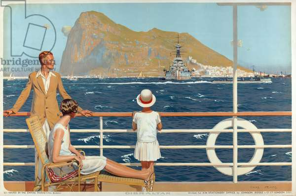 Gibraltar, from the series 'The Empire's Highway to India', 1928 (colour litho)