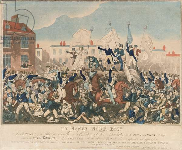 The Peterloo Massacre, 16th August 1819, pub. 1st October 1819 by Richard Carlile (coloured etching)