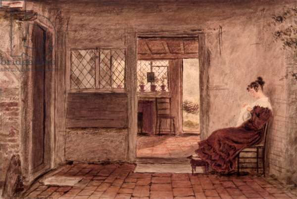 Cottage interior with girl sewing, c.1828 (w/c on paper)