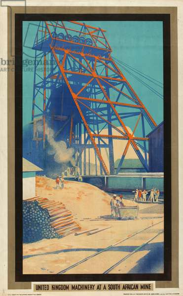 United Kingdom Machinery at a South African Mine, from the series 'Empire Buying Makes Busy Factories', 1930 (colour litho)