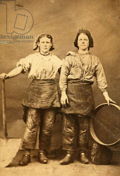 Portrait of two workers at the Tredegar Iron Works, Wales, 1865 (albumen print)