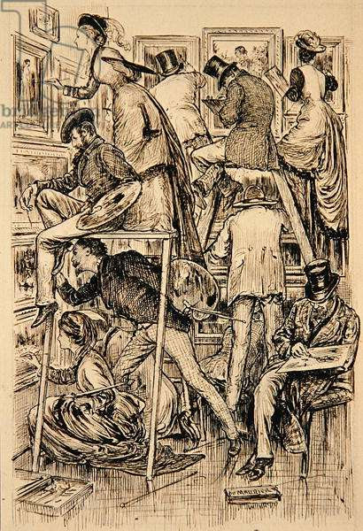 Varnishing Day at the Royal Academy, 1877 (pencil on paper)