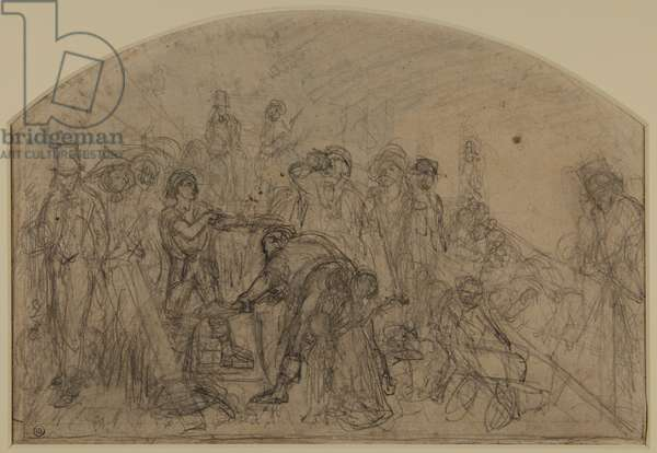 First Rough Sketch For 'Work' (Compositional Sketch For The Figures), 1856 (pencil & chalk on paper)