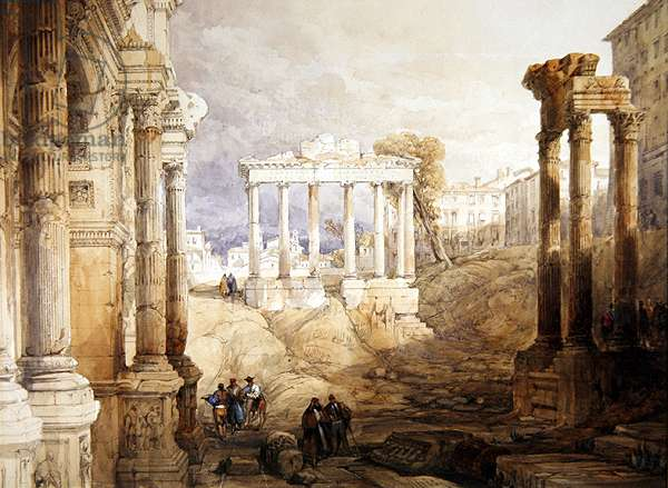 The Forum, Rome, 1835 (pencil & w/c with gum Arabic and white heightening)