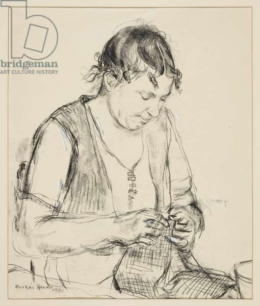 Sewing, 1940 (black chalk on paper)