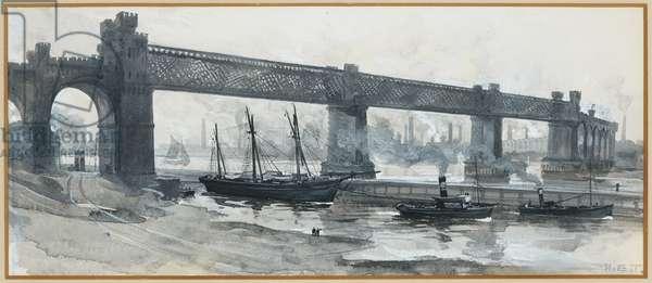 Ship Canal, Runcorn Bridge, 1893-94 (w/c gouache on paper)