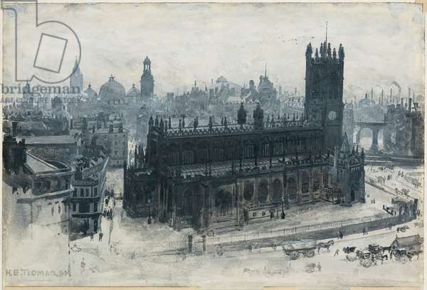 Manchester from the Grammer School, 1893-94 (w/c gouache on paper)