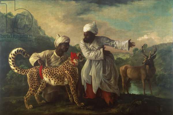 Cheetah and Stag with two Indians, c.1765 (oil on canvas)