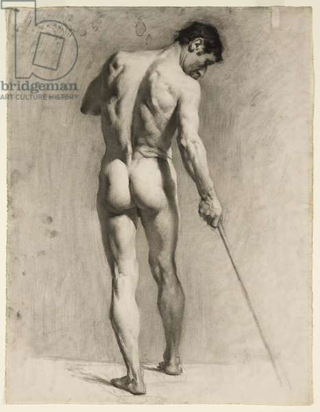 Life drawing of a male nude with a cane, c.1910-12 (chalk on paper)