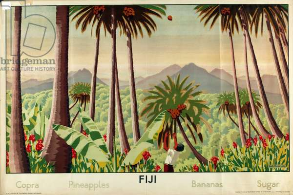 Fiji - Copra, Pineapples, Bananas, Sugar, from the series 'Some Empire Islands', 1929 (colour litho)
