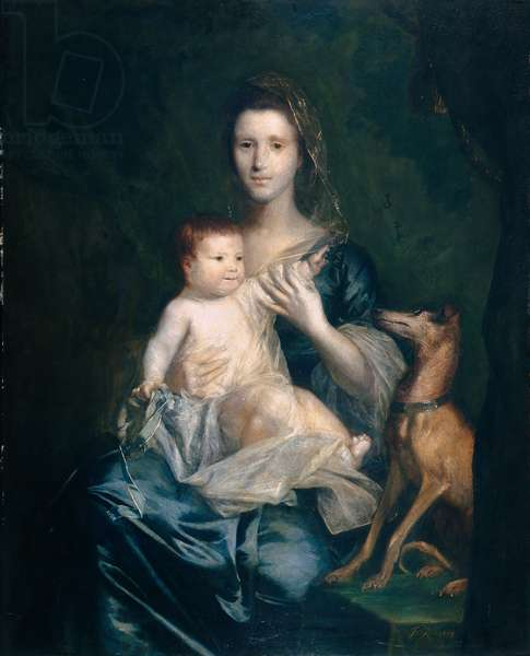 Jane Hamilton, Wife of 9th Lord Cathcart, and Her Daughter Jane, Later Duchess of Atholl, 1754-55 (oil on canvas)