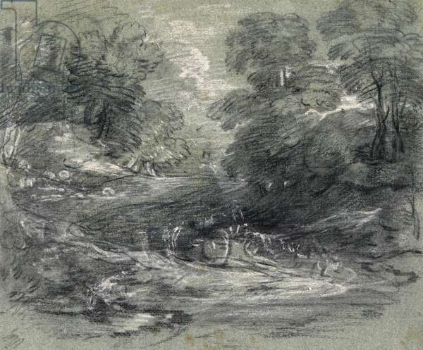 Landscape with Farm Cart on a Winding Track between Trees (charcoal and gouache on paper)