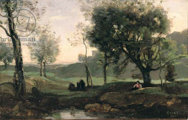 Sunset: Figures Under Trees (oil on canvas)