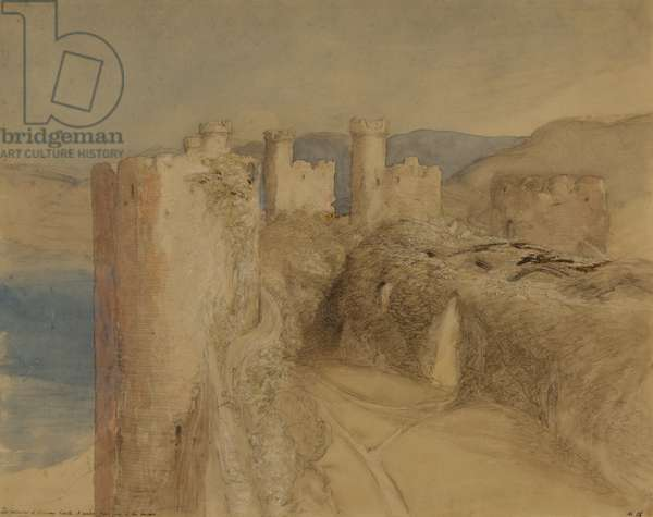 Conway Castle, 1836 (w/c, bodycolour & chalk on paper)