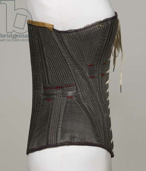 Corset (view G), 1840-50 (cotton, metal, leather & satin)