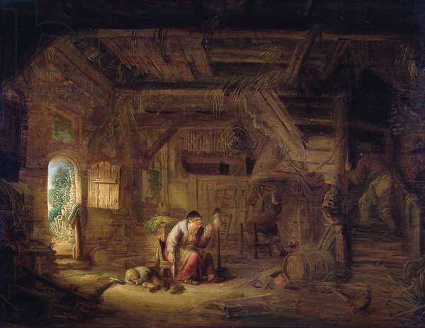 Interior of a barn with an old woman at a distaff (oil on panel)