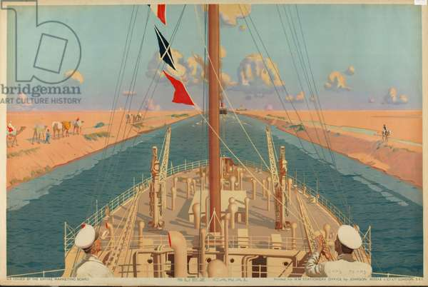 Suez Canal, from the series 'The Empire's Highway to India', 1928 (colour litho)