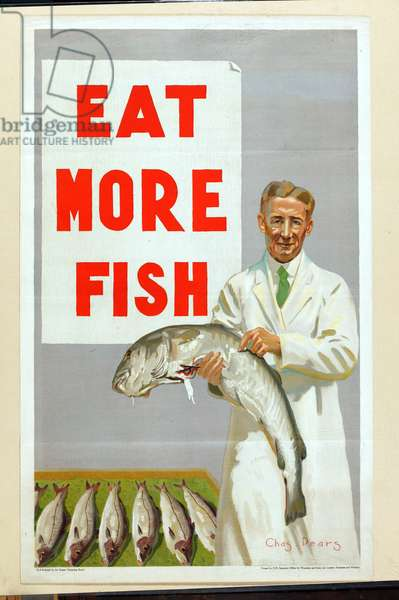 Eat More Fish, from the series 'Caught by British Fishermen' (colour litho)