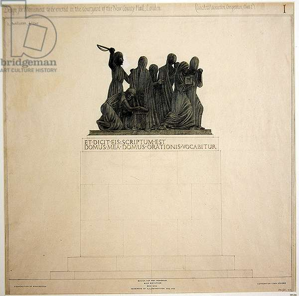 Design for a War Memorial: Back Elevation, 1916 (pencil, w/c & bodycolour on buff paper)