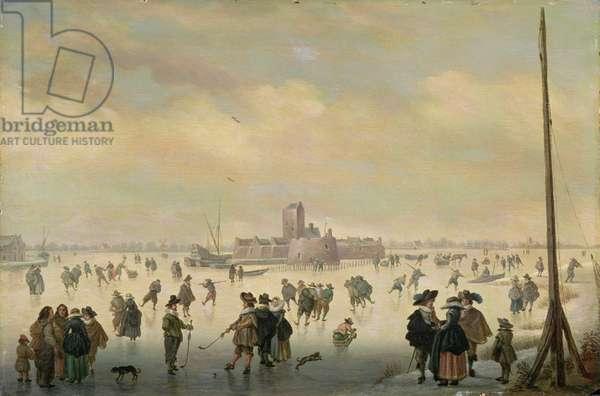 Skating Scene (oil on panel)