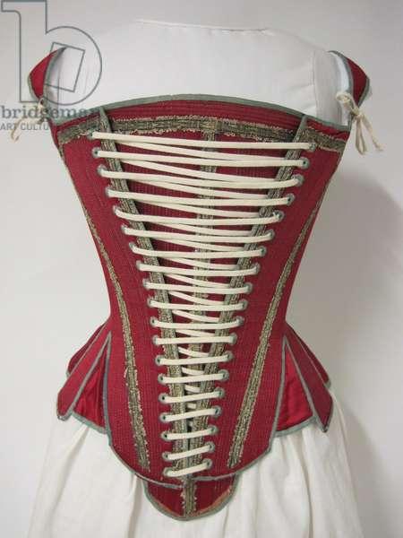 Corset, Stays and Stomacher, 1620-40 (satin, linen & silk ribbon)