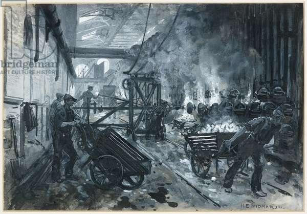 Rochdale Road Gas Works - Drawing Coke, 1893-94 (w/c gouache on paper)
