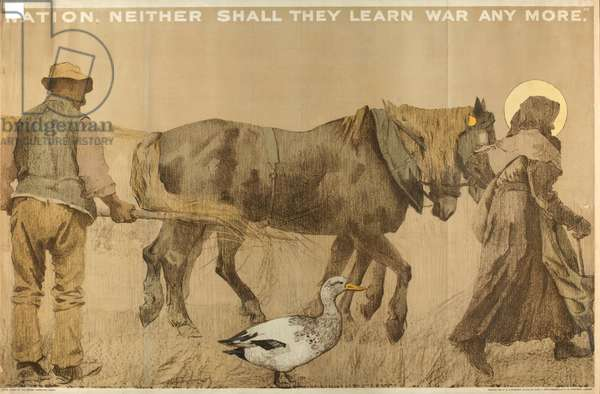 Neither Shall They Learn War Anymore, from the series 'The Empire Stands for Peace' (colour litho)