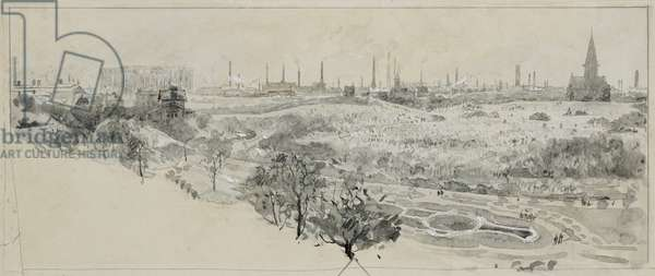 Phillips Park Cemetery and Bradford Road Gas Works, 1893-94 (w/c gouache on paper)