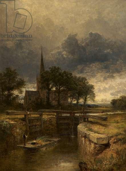 Stratford-on-Avon Church and Lock, 1883 (oil on canvas)