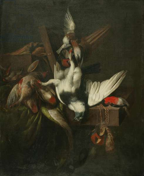 Still life with Dead Pigeon, Finches and Falcons' Hoods (oil on canvas)