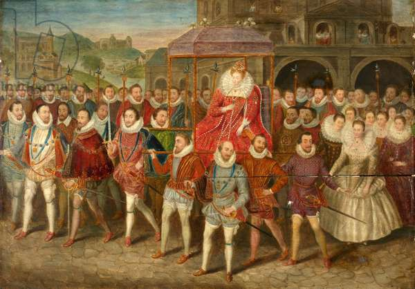 A Procession of Queen Elizabeth I, c.1800-40 (oil on panel)