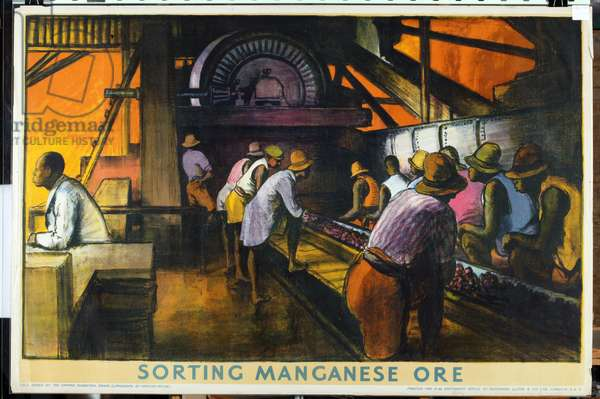 Sorting Manganese Ore, from the series 'What Gold Coast Prosperity Means' (colour litho)