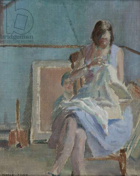 Sewing, 1929 (oil on hessian)