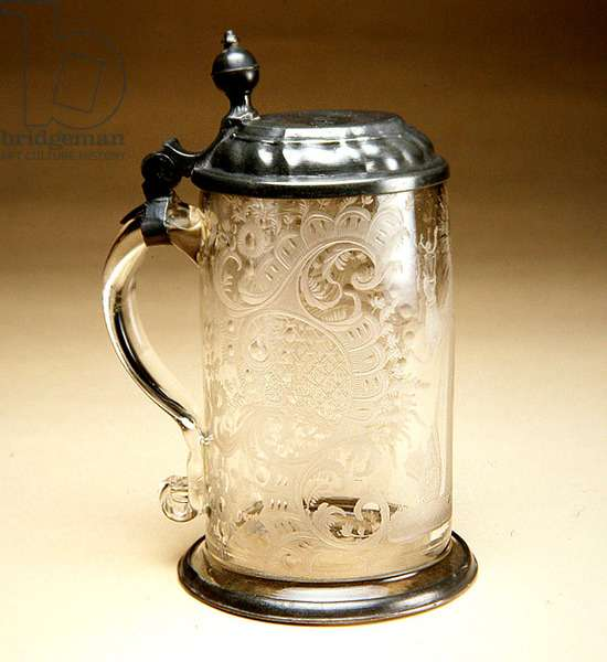 Tankard, 1730-50 (lead glass with pewter lid)