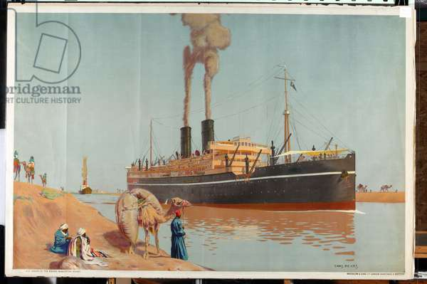 The Suez Canal (colour litho)