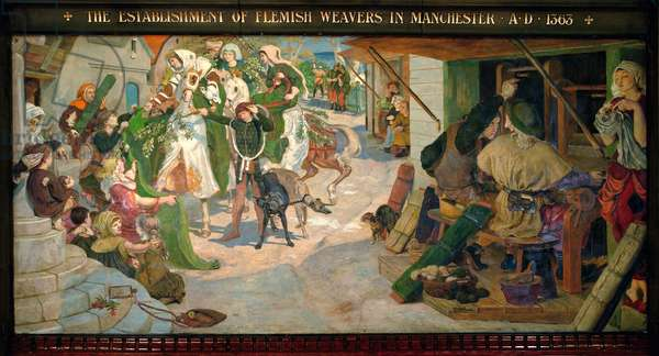 The Establishment of the Flemish Weavers in Manchester in 1363, 1882 (pigment, varnish, gum & wax on panel)