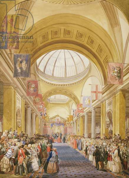 Visit of Queen Victoria to the Royal Exchange, Manchester in 1851 (pencil, w/c & bodycolour on paper)