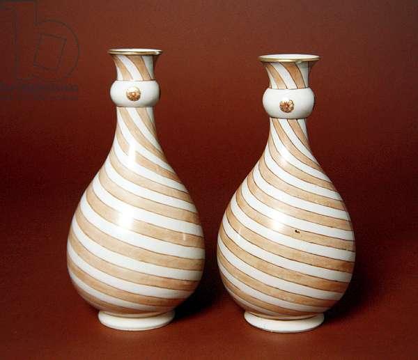 Bottle Vases, 1723-35 (porcelain with enamel)