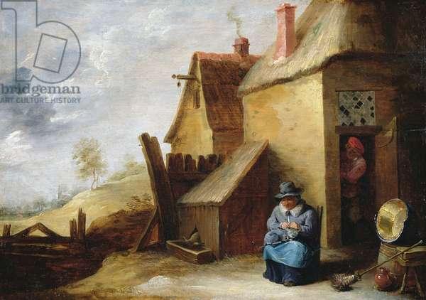 Cottage in a landscape (oil on panel)