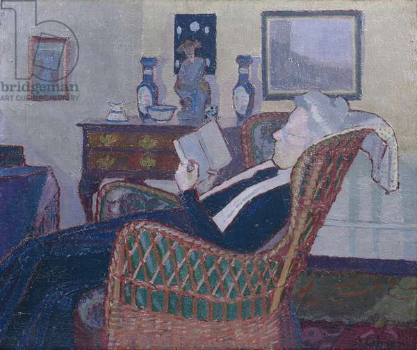 Interior with Artist's Mother 1917-18 (oil on canvas)