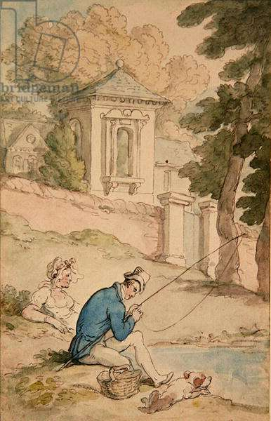 Man Fishing, c.1780 (pen & brown ink and w/c on paper)