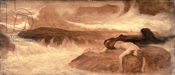 The Death of Leander, predella panel of The Last Watch of Hero, 1887 (oil on canvas)
