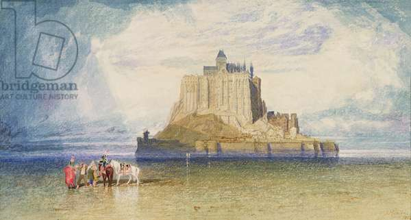 Mont St. Michel, 1828 (w/c, pencil and bodycolour on paper)